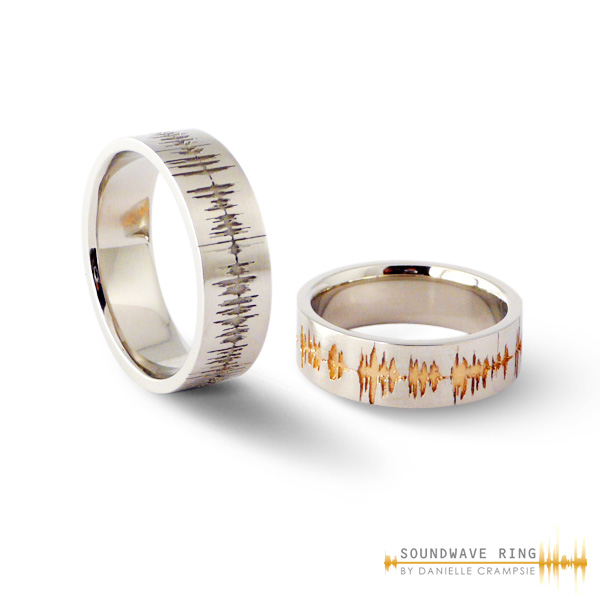 custom soundwave rings etch the image of your personal sound wave onto a ring to create - One Of A Kind Wedding Rings